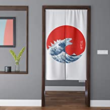 Spanker Ukiyoe Red White and Blue Japanese Mythical Creature The Great Waves Godzilla Artistic Japanese Noren Doorway Curtain Fabric Cotton Linen for Home Kitchen Door Decor 34x59 Inches