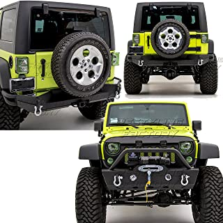 Restyling Factory -Stubby Front Bumper with OE Lights Hole and Winch Plate+Full width Rear Bumper with 2