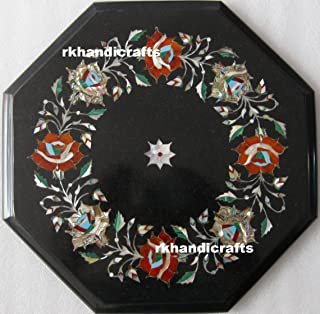 Black Marble End Table Top Marquetry Art Inlaid Semi Precious Stone Elegant Home Furniture 12 Inches