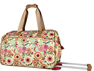 Luggage Designer Pattern Suitcase Wheeled Duffel Carry On Bag (14in, Busy Bee)