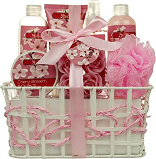 Bath and Body - Spa Gift Baskets for Women & Girls, Cherry Fragrance, Spa Kit Birthday Gift Includes Loofah Sponge, Bath Salt, Body Lotion, Soap Roses, Body Mist, Shower Gel And Bubble Bath