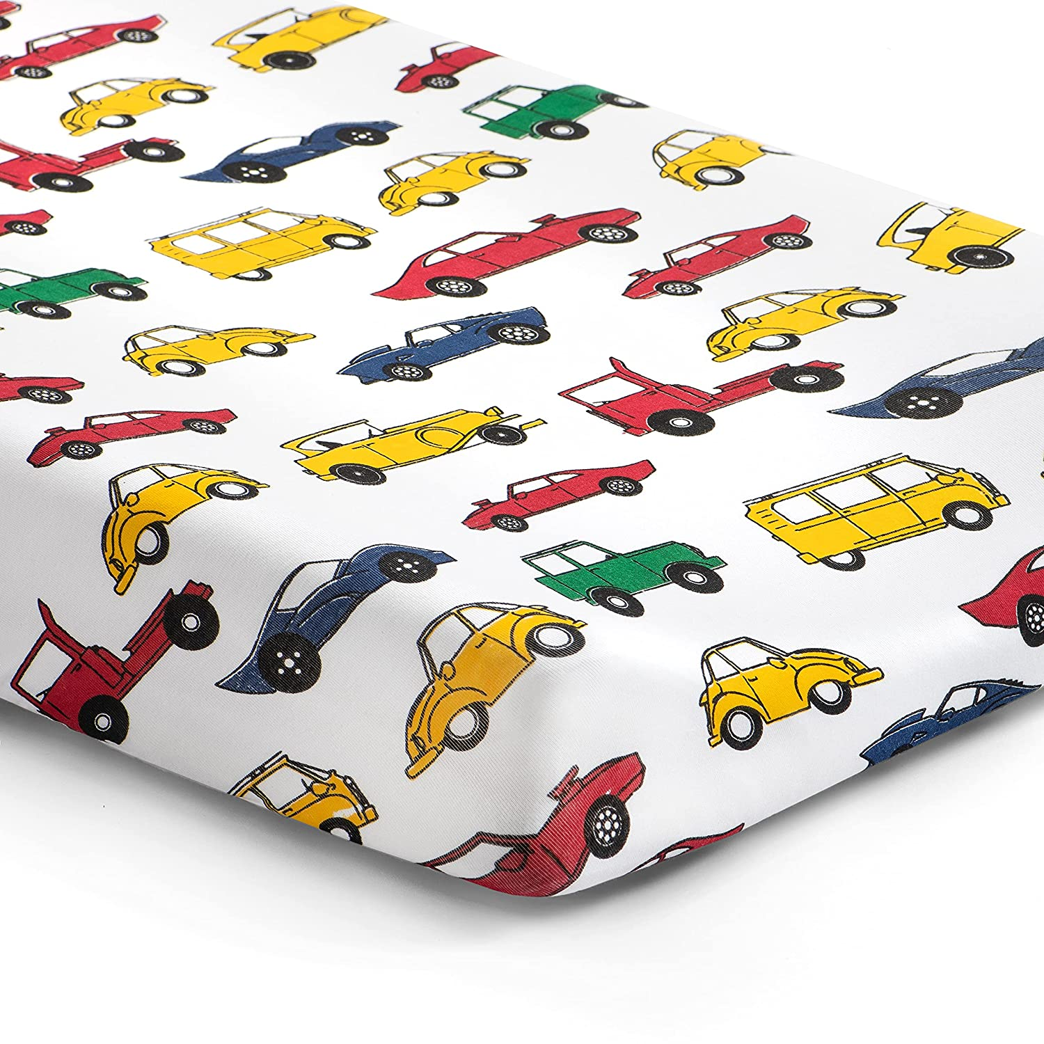 Norani Baby Changing Pad Cover   Softest Organic Cotton   Changing Pad Cover for Boys   Fitted   Infant and Toddler   Nursery   Colorful Cars and Trucks