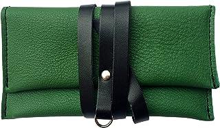 CG - Talento Fiorentino, astuccio porta tabacco, custodia piccola in vera pelle pregiata e riciclata bicolor Verde e Nero,...