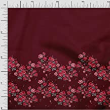 Soimoi Red Japan Crepe Satin Fabric Leaves & Rose Panel Print Fabric by The Yard 42 Inch Wide