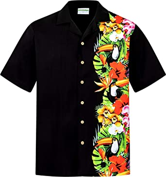 Camisa Hawaiana | Hombre | Manga Corta | 100% Algodón | S - 8XL | Aloha | Tropical | Aves | Flores | Negro | Hawaiiana | Hawaii | Barata