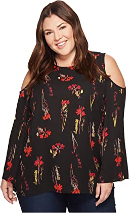 Vince Camuto Specialty Size - Plus Size Bell Sleeve Elegant Botanical Cold-Shoulder Blouse