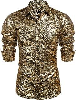 Men's Luxury Design Shirts Floral Dress Shirt Casual Button Down Shirts