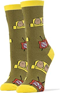 Oooh Yeah Women's Combed Cotton Crew Socks Couch Potato TV Party