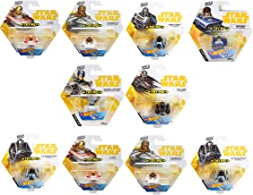 Set of 10 Hot Wheels Star Wars Battle Rollers Starship Die Cast Vehicles Character Collectible Action Toy Figures (Assortment D)