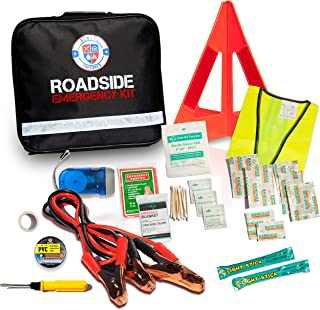 62 Piece Safety Roadside Assistance Kit – All-in-One Car First Aid Emergency Kit – Roadside Assistance Auto Emergency Kit – Pre