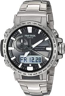 Casio Men's Pro Trek Quartz Sport Watch with Titanium Strap, Silver, 22 (Model: PRW60T-7ACR)