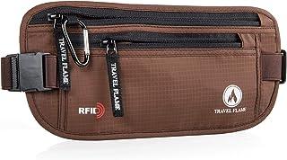 Travel Money Belt for Women Men Hidden RFID Blocking, Secure Waterproof Waist Pouch (Brown)