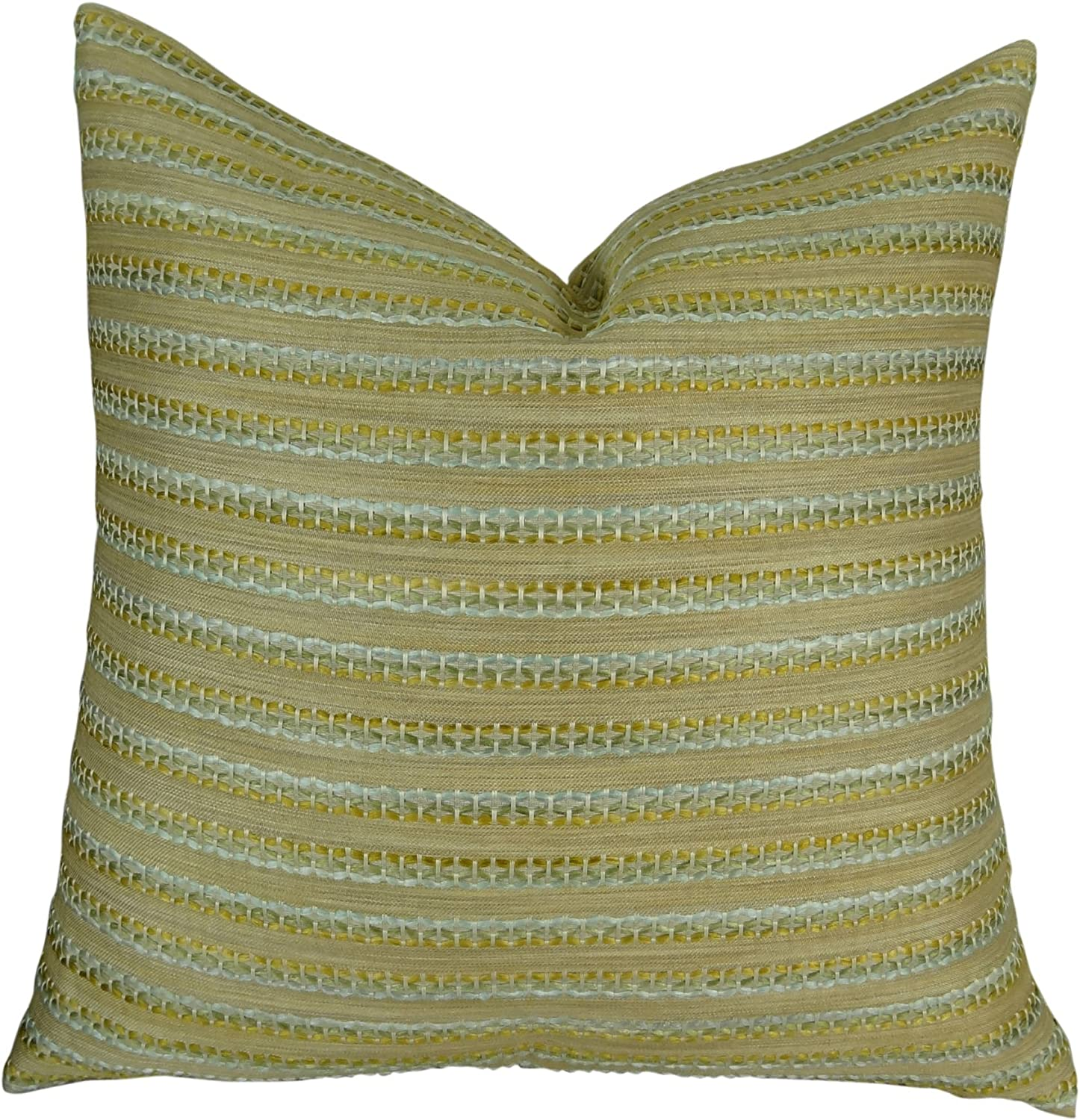 Thomas Collection Handmade in USA Luxury Accent Pillow for Couch Sofa Bed, Made in USA Pillow Insert & Cover, Taupe blueee Stripe Pillow  11320