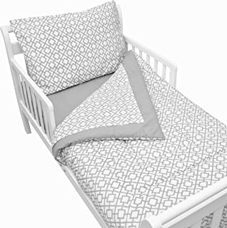American Baby Company 100% Cotton Percale 4-Piece Toddler Bedding Set, Gray Lattice, for Boys and Girls