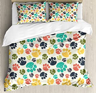 Ambesonne Dog Lover Duvet Cover Set, Hand Drawn Paw Print Doodles Circular Pattern Children Drawing Style Animal, Decorative 3 Piece Bedding Set with 2 Pillow Shams, Queen Size, Charcoal Beige