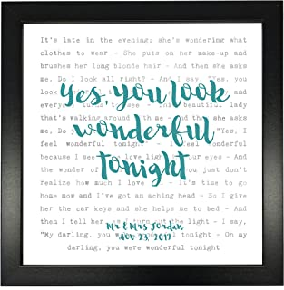 Eric Clapton, Wonderful Tonight' Song Lyrics Print Framed & Personalised