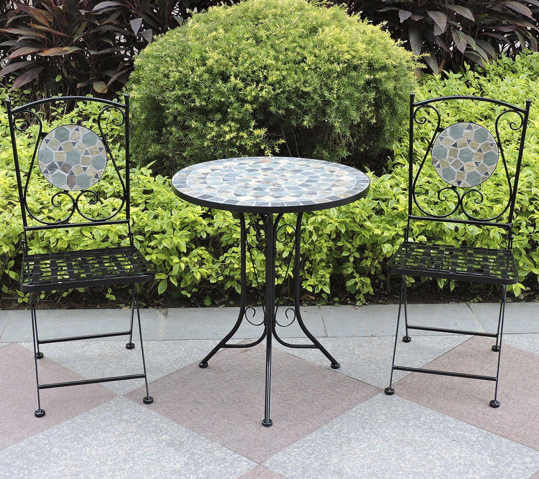 Conjunto de mesa y silla plegable Woodside para jardín diseño mosaico, muebles de comedor: Amazon.es: Jardín