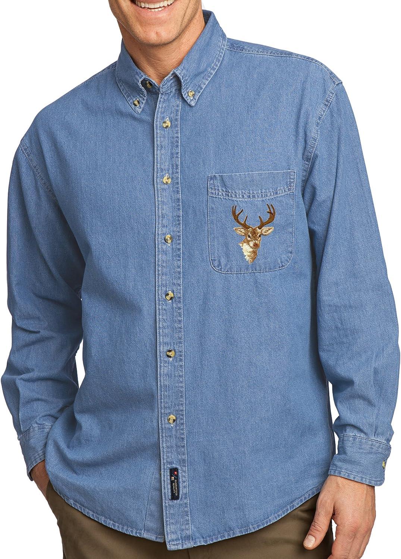 Mens オーバーのアイテム取扱☆ Buck Deer 海外 Patch Long Denim Sleeve Shirt