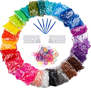 12730+ Loom Rubber Bands Refill Kit in 26 Color, 500 Clips, 6 Hooks, Premium Bracelet Making Kit for Kids Weaving DIY Craf...