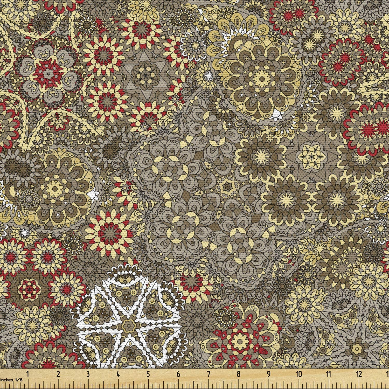 Lunarable Price reduction Batik Fabric by The Yard Paisley Max 48% OFF Forms Vintage Style