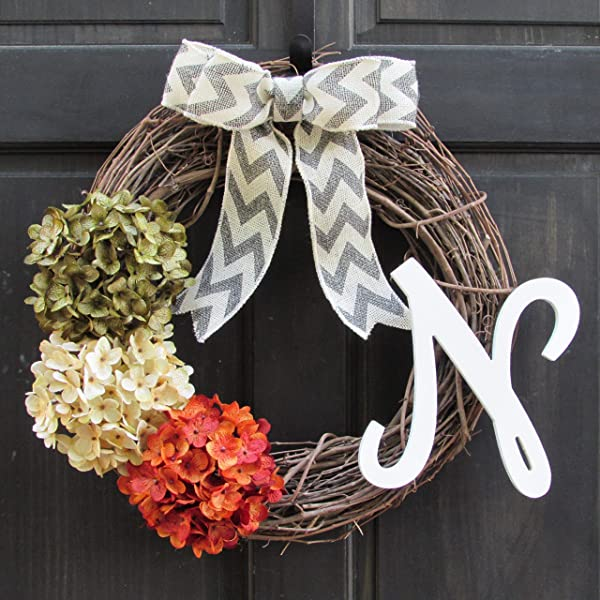 Green Cream And Orange Rust Hydrangea Grapevine Summer Fall Wreath With Personalized Monogram Initial For Front Door Decor
