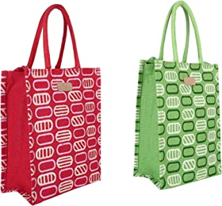 Ecotara Marvel Eco-friendly Jute Lunch Bag Combo- Red & Green