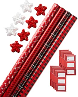 American Greetings Christmas Wrapping Paper Kit with Gridlines, Bows and Gift Tags, Stripes, Buffalo Plaid, Classic Plaid and Argyle (41-Count, 120 sq. ft.)