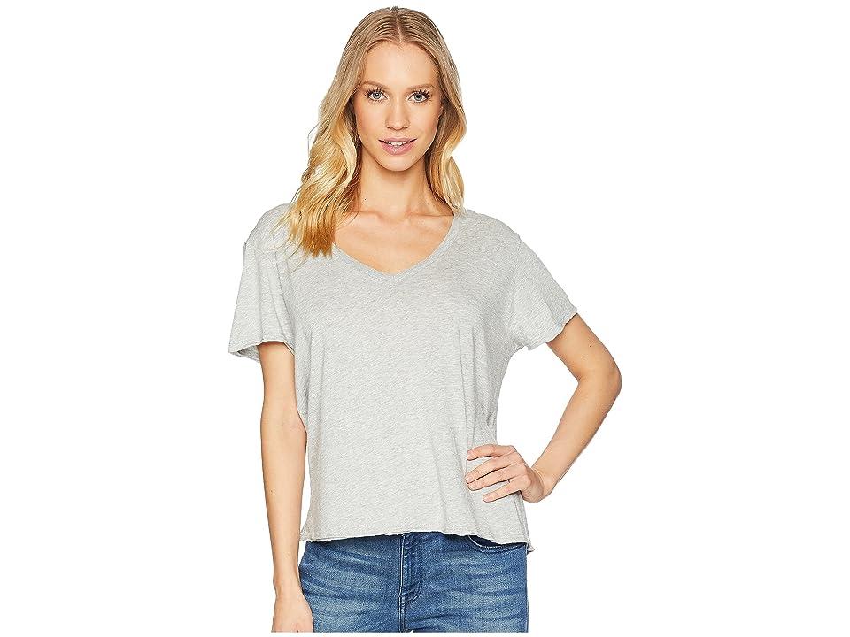 Michael Stars Ultra Jersey Cropped V-Neck Tee (Heather Grey) Women's T Shirt