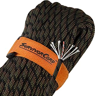 Titan 620 LB SurvivorCord Paracord [w/Free Ebooks]   Patented 550 Parachute Cord with Integrated Fishing Line, Waxed-Jute Tinder, and Utility Wire. Developed for U.S. Military Special Operations.