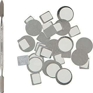 80 Metal Magnetic Palette Stickers for Empty Magnetic Makeup Palettes + Stainless Steel Depotting Spatula (40 pcs Round Organizational Stickers & 40 pcs Square Organizational Stickers)