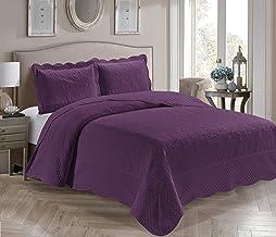 Coleção Fancy 3 peças colcha luxuosa em relevo capa para cama sólida nova tamanho grande #Veronica (casal/queen, roxo)