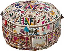 Surya Decorative Pouf, 22 by 22 by 12-Inch, Multicolored