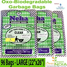 Neha Biodegradable Garbage Bags - Large Size(22 inch x 26 inch) with Rubber Band - Black (96 Bags)