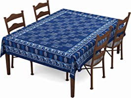 BLOCKS OF INDIA Hand Block/Batik Printed Cotton Rectangular Table Cloth for 6 Seater Dining Table (60 Inch X 90 Inch ||...