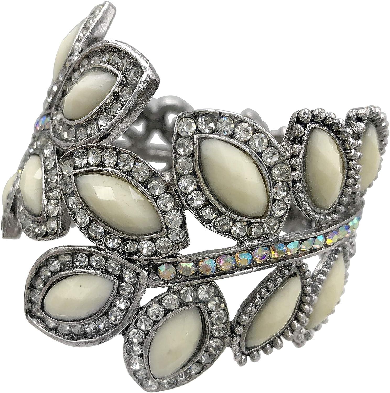 Gypsy Jewels Large Leaf Statement Rhinestone Wide Hinged Bangle Bracelet