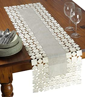 "Violet Linen Sevill Decorative Embroidered Cutwork Table Runner, 14"" x 34"", Ivory"