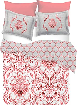 D'Decor Live Beautiful 136TC 1 Double Bedsheet with 2 Pillow Covers with 1 Double Comforter - Red ( 228 cm X 274 cm , 90IN X 108IN )