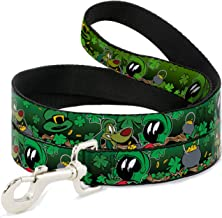 Buckle-Down Pet Leash - Marvin the Martian & K-9 Poses/Clovers Greens - 4 Feet Long - 1/2