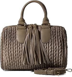 Womens Vegan PU Leather Top Handle Handbag Tube Satchel Style Two Tassel Zipper Closure