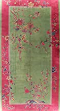 Antique Art Deco Rug Oriental Oversize Wool Floral Handmade Chinese Carpet 10x19 (18' 10'' X 9' 10'')