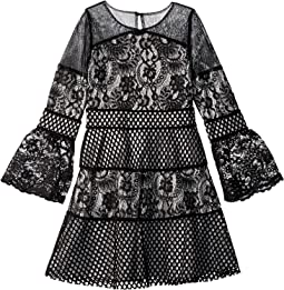 3/4 Bell Sleeve Lace & Techno Mesh Dress (Big Kids)