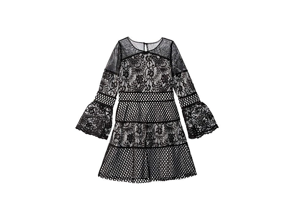 Us Angels 3/4 Bell Sleeve Lace Techno Mesh Dress (Big Kids) (Black) Girl