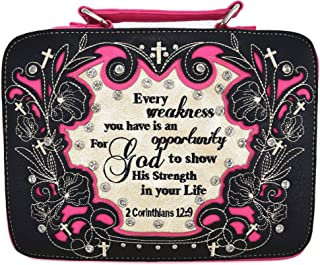 Western Style Embroidery Scripture Cross Country Women Rhinestone Bible Cover Book Case Crossbody Handbag