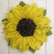 Bright Yellow Burlap Sunflower Wreath by The Crafty Wineaux™