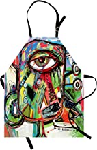 Ambesonne Abstract Apron, Doodle Bird Character Eyes Eyesight Goofy Portrait Unusual Retro Illustration, Unisex Kitchen Bib with Adjustable Neck for Cooking Gardening, Adult Size, Green Coral