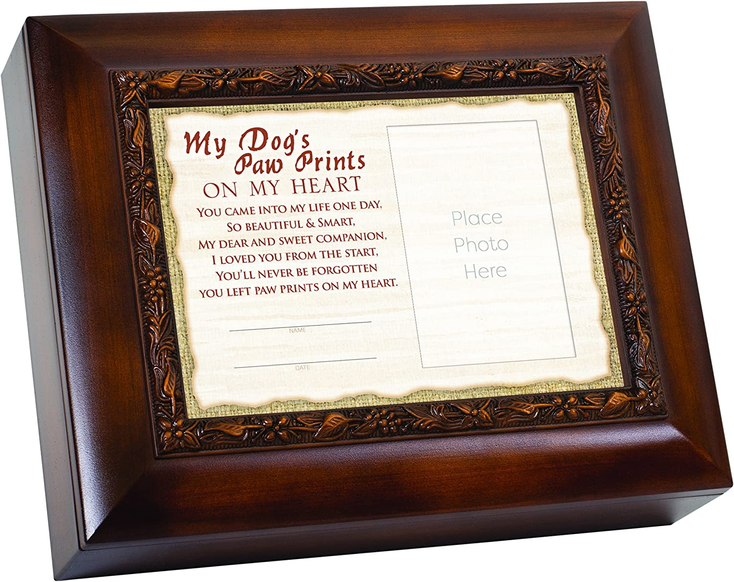 Cottage Garden My Dog's Paw Prints On My Heart Memorial 9.5 x 8 inch Wood Finish Ashes Memorial Urn Box