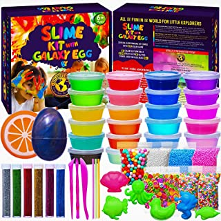 EXPLORER'S CHOICE Slime Kit for Girls and Boys - DIY Big Slime Kit 3.55 pounds - 24 Clear Slime Containers - Super Fun Toys for Girls and Boys - Slime Kits Supplies with Foam Beads