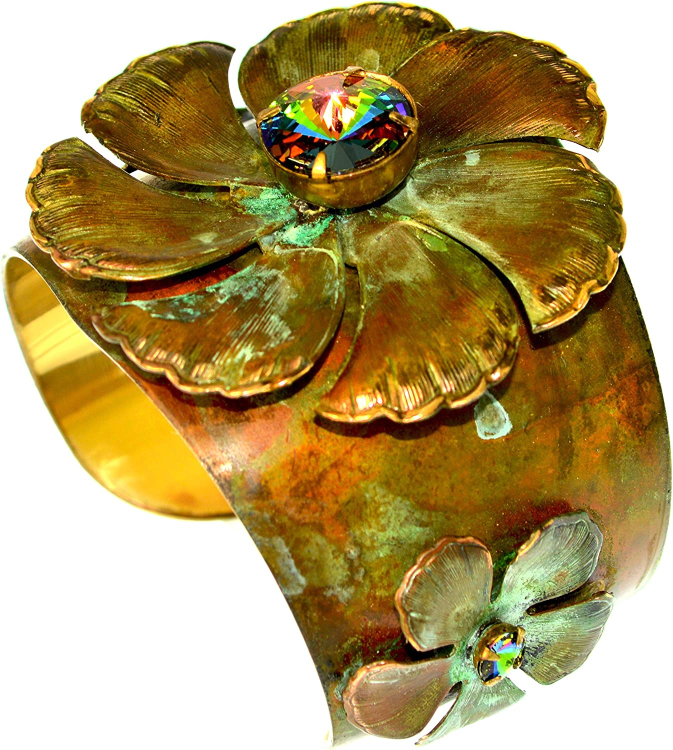 Olive Patina Large Pansy Flowers Tapered Cuff - Swarovski Crystals