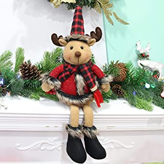 Houwsbaby Christmas Decoration Rudolph Handmade Plush Reindeer Figurines with Jingle Bells Home Desktop Collectible Stuffed Dolls Holiday Party Supplies Sitting Table Ornament, Red, 25'' (Deer)