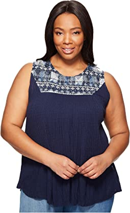 Plus Size Embroidered Yoke Tank Top